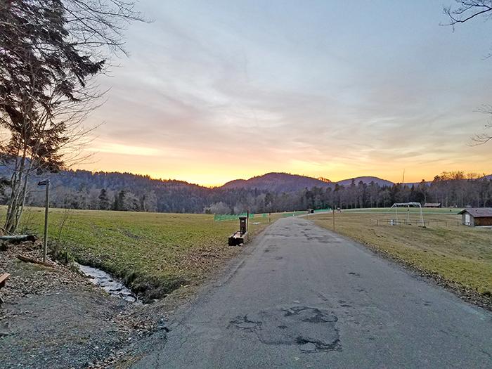 Ende der Wanderung mit Sonnenuntergang